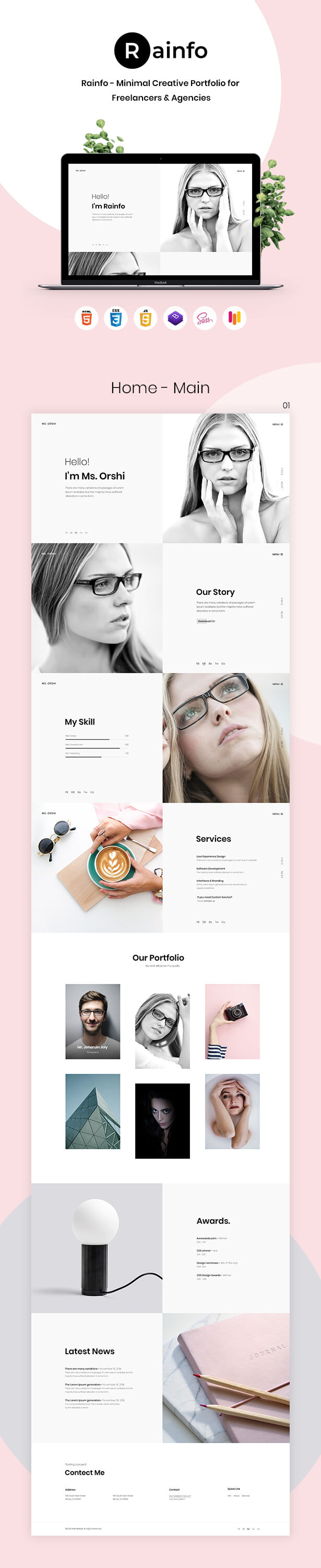 Rainfo - Minimal Creative Portfolio for Freelancers & Agencies - 1