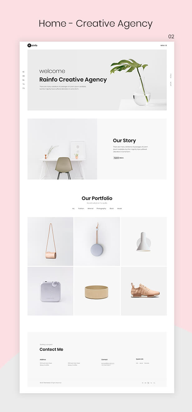 Rainfo - Minimal Creative Portfolio for Freelancers & Agencies - 2
