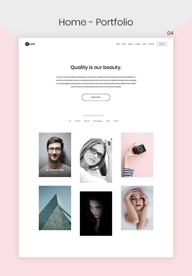 Rainfo - Minimal Creative Portfolio for Freelancers & Agencies - 4